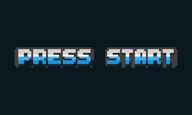 Pixel art press start text design