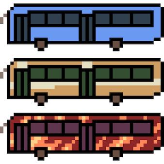 Pixel art of public tour bus