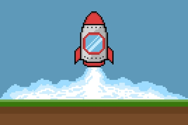 Pixel art rocket launch, vector illustration