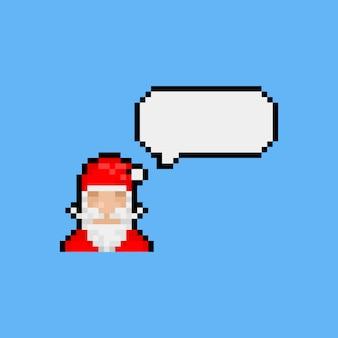 Pixel art santa claus icon with speech bubble.