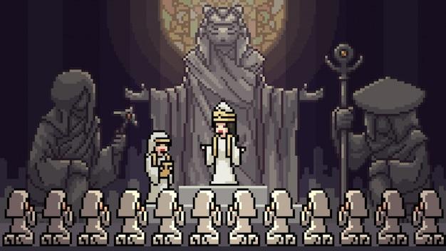 Pixel art scene cult meeting