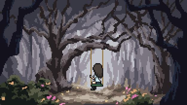 픽셀 아트 장면 숲 소녀