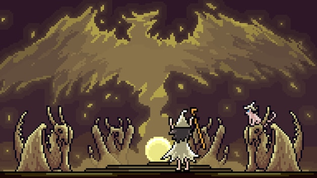 Pixel art scene magic wizard