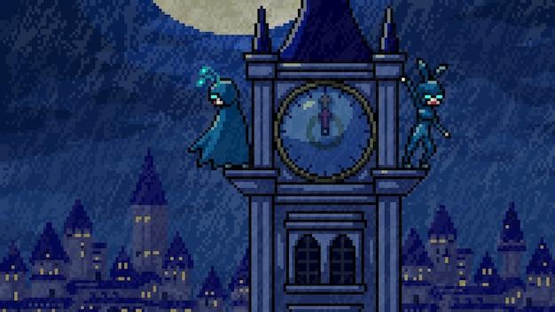 Пиксель арт сцена полуночные герои