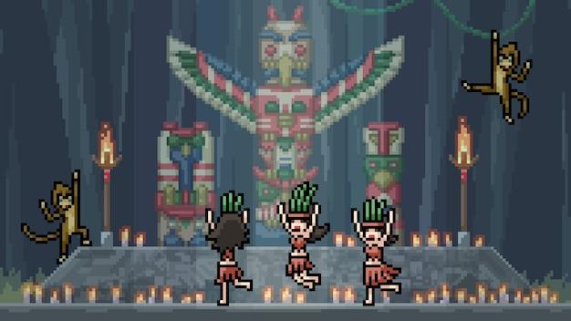 Pixel art scene native totem dance