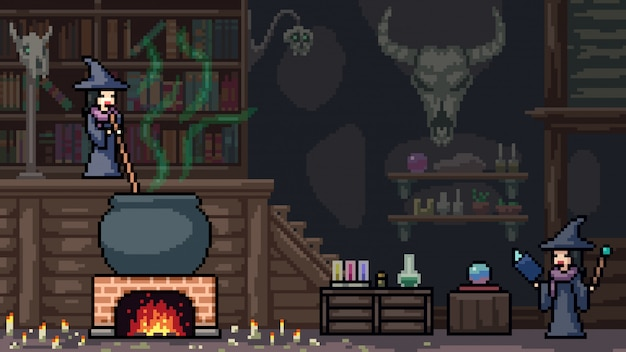 Pixel art scene witchcraft ritual