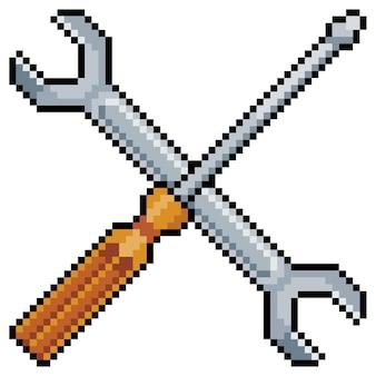 픽셀 아트 스크루 드라이버 및 렌치 도구. 흰색 바탕에 비트 게임 항목