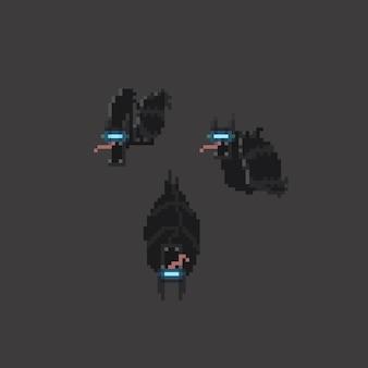 Pixel art set of cyber bat character