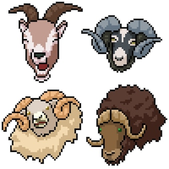 ピクセルアートセット角のある哺乳類