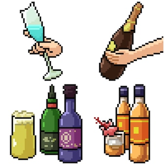 Pixel art set isolated alcohol drink