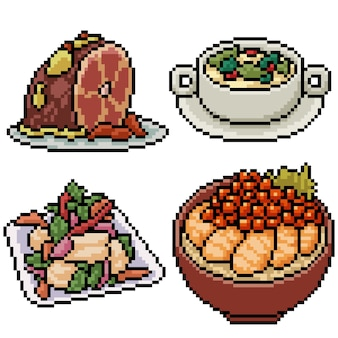 Pixel art set isolated asian restaurant