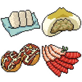 Pixel art set isolated asian snack