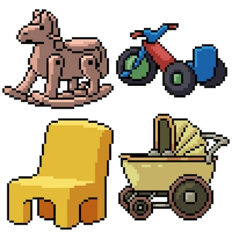 Pixel art set isolated baby toy