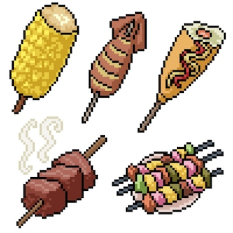 Pixel art set isolated barbeque party