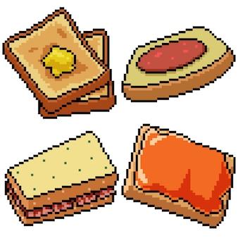 Пиксель арт набор изолированных завтрак хлеб