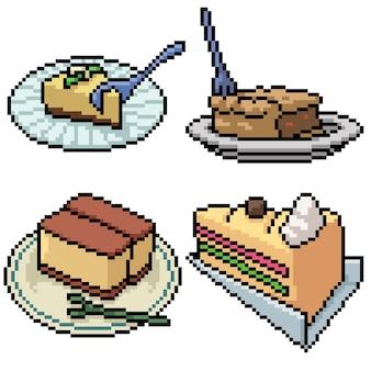 Pixel art set isolated cake dessert
