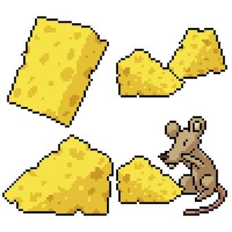 Pixel art set isolated cheese rat