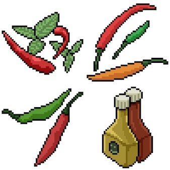 Pixel art set isolated chili spices