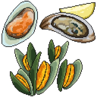 Pixel art set isolated clam snack