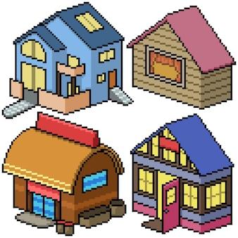 Пиксель арт набор изолированный уютный дом