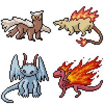 Pixel art set isolated fantasy monster