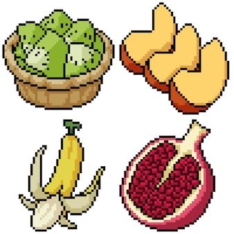 Pixel art set isolated fruit dessert