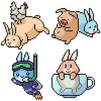 ピクセルアートセット孤立した面白いウサギの友人