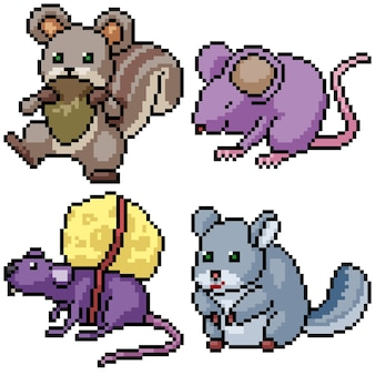 Pixel art set isolated funny rodent