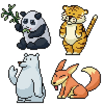 Пиксель арт набор изолированных забавное животное