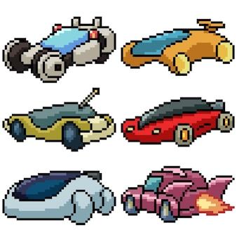 Пиксель арт набор изолированных будущих автомобилей