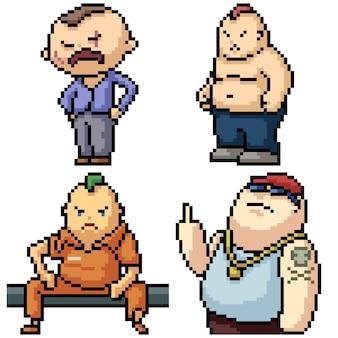 Пиксель арт набор изолированных гангстер бандит