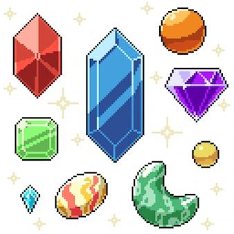 Пиксель арт набор изолированных драгоценностей из драгоценных камней