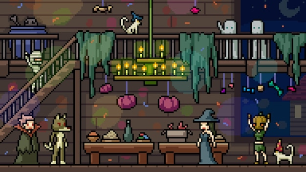 Pixel art set isolated halloween party
