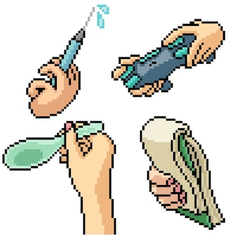 Pixel art set isolated hand holding tool