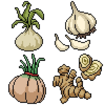 Pixel art set isolated herb spices
