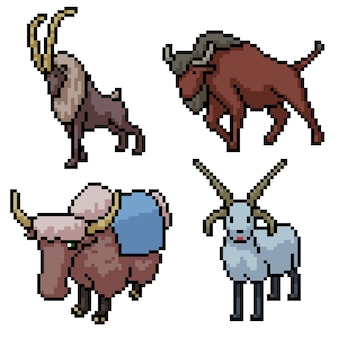 Пиксель арт набор изолированных рог млекопитающее