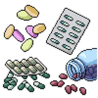 Пиксель арт набор изолированных больничная таблетка