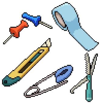 ピクセルアートセット孤立した家のツール