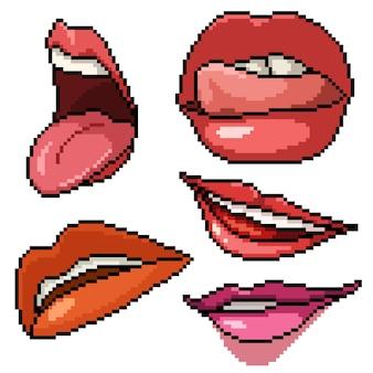 Пиксель арт набор изолированных губ