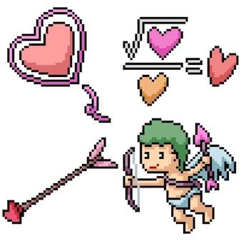 Пиксель арт набор изолированных любовь амур