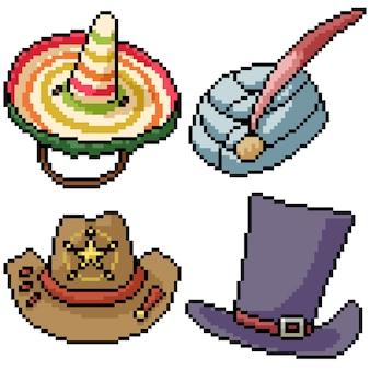 ピクセルアートセット孤立した国のユニークな帽子
