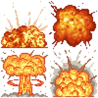 Pixel art set isolated nuclear effect