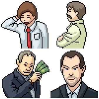 Пиксель арт набор изолированных офисный деловой человек
