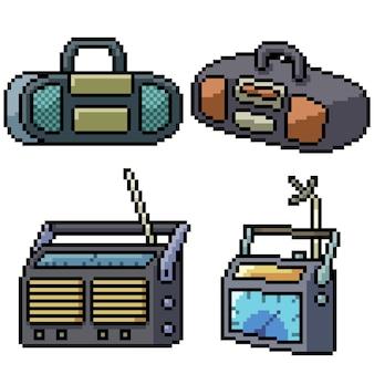 Пиксель арт набор изолированных старое радио