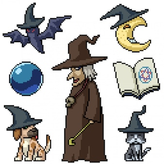 Pixel art set isolated old witch