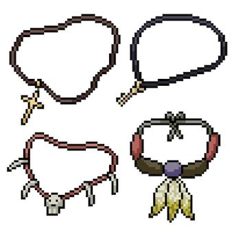 Пиксель арт набор изолированных религиозное ожерелье