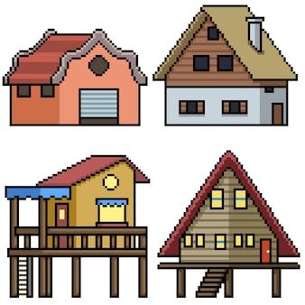 Пиксель арт набор изолированный сельский дом