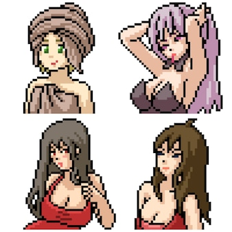 Pixel art set isolated sexy anime girl