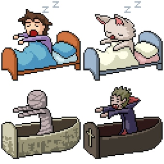 Pixel art set isolated sleep wake up
