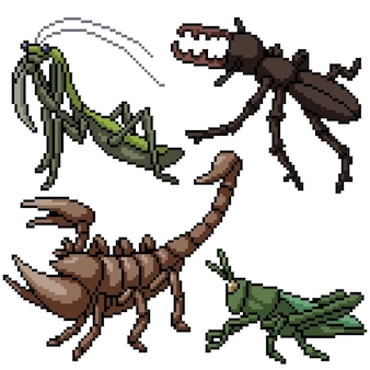 ピクセルアートセット分離小さな昆虫